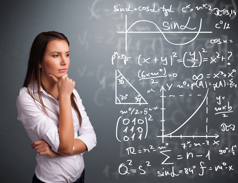 Girl thinking about equation